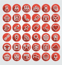 Flat Icons Social Media Round Red Set vector image