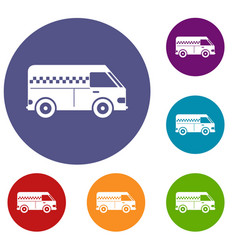 minibus taxi icons set vector image vector image