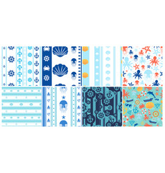 Sea and ocean seamless patterns set vector