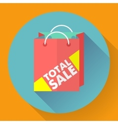 Total sale shopping bag Flat style icon vector image vector image