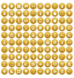 100 well person icons set gold vector
