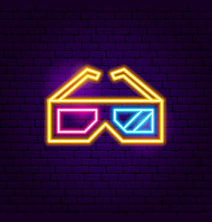 3d glasses neon sign vector