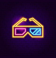 3d glasses neon sign vector