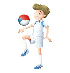 A boy playing with the ball from Czech Republic vector