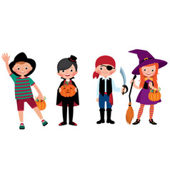 a group of children in halloween costumes vector image