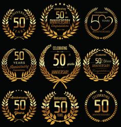 Anniversary golden laurel wreath retro collection vector