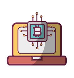 bitcoin microchip icon vector image