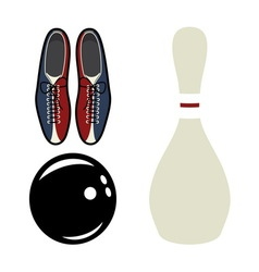 bowling set2 resize vector image