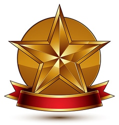 Branded golden symbol with stylized pentagonal vector