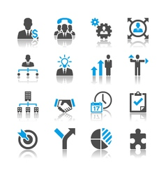 Business and management icons reflection vector image