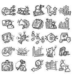 business icon set hand drawn icon design outline vector image
