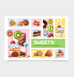 Cartoon sweets infographic concept vector
