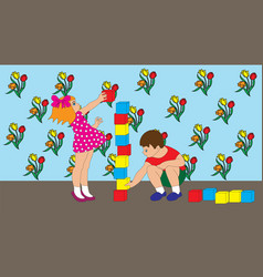 Children boy and girl are playing cubes vector