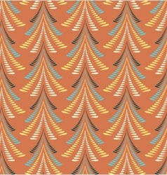 Christmas seamless pattern Firs trees on orange vector image