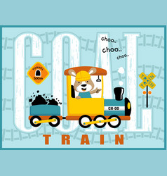 coal train cartoon with cute machinist vector image
