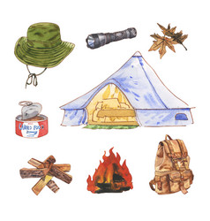 Creative isolated element camping watercolor vector
