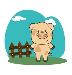 Cute animal in farm landscape vector