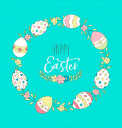 Cute easter spring greeting card with eggs vector