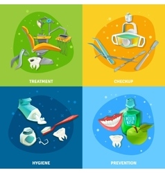 Dentist 4 flat icons square banner vector