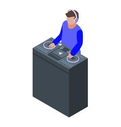 Disk jockey icon isometric style vector