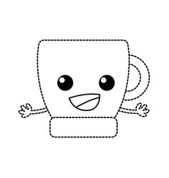 Dotted shape happy coffee cup kawaii with arms vector