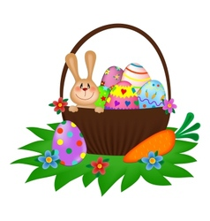 Easter bunny with a painted eggs in the basket vector image