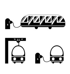 electric bus from different angles in black and vector image