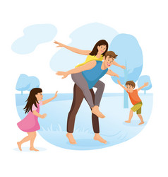 family park amusement cartoon concept vector image