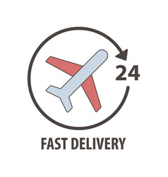 fast delivery logo with plane in circle vector image
