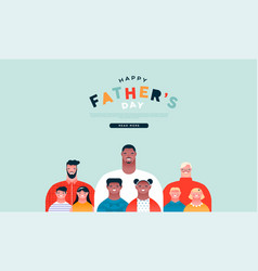 fathers day web page template diverse dad family vector image