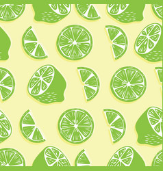 fruit seamless pattern lime halves and slices vector image