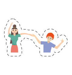 Fun couple happy dance vector