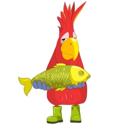 Funny Parrot Fisherman vector image