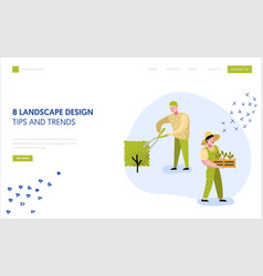gardening planting landing page template gardener vector image