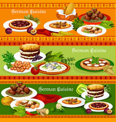 german meat and fish dishes with beer and desserts vector image