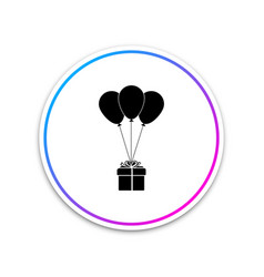 gift box with balloons icon isolated on white vector image