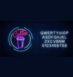 glowing neon coffee cup sign with alphabet night vector image