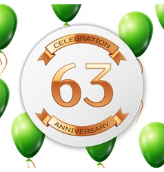 Golden number sixty three years anniversary vector image