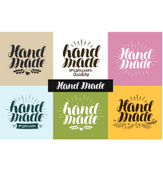 Hand made logo or label handiwork handcraft vector