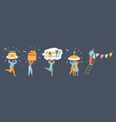 happy birthday congratulations set vector image