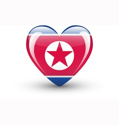heart-shaped icon with flag north korea vector image