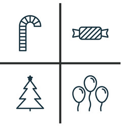 holiday icons set collection of decorated tree vector image
