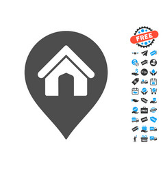 House marker icon with free bonus vector