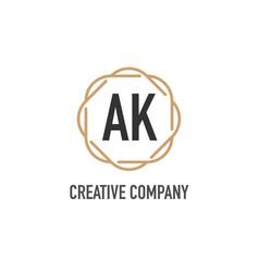 Initial letter ak luxurious minimalist elegant vector