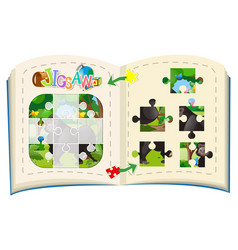 Jigsaw puzzle pieces of gorilla in forest vector