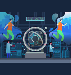 Lab with scientists and time machine portal gate vector