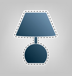lamp sign blue icon with vector image