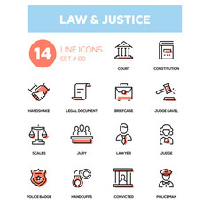 law and justice - line design icons set vector image