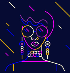 linear a girl face on a dark vector image