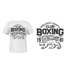 lion t-shirt print mockup boxing figth club team vector image